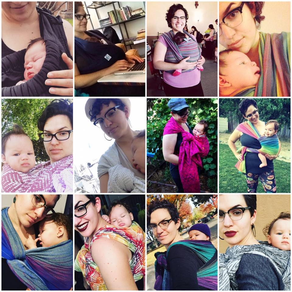 Images: a collage of 12 different images of Elena wearing Baby N, starting with a pouch sling, a stretchy wrap, their first woven, a variety of front/hip carries, and then finishing off with several back carries.