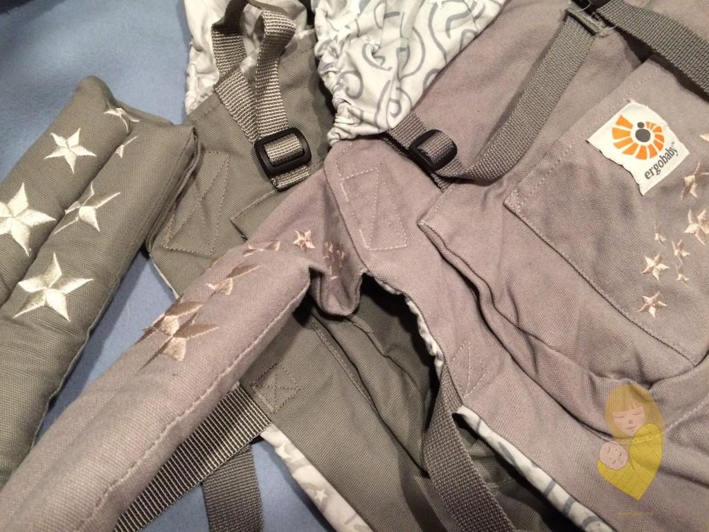 Slika 5 - Gornji deo nosiljki; tamnija je Ergobaby original, svetlija (nosiljka koja je ispred) je Fergo