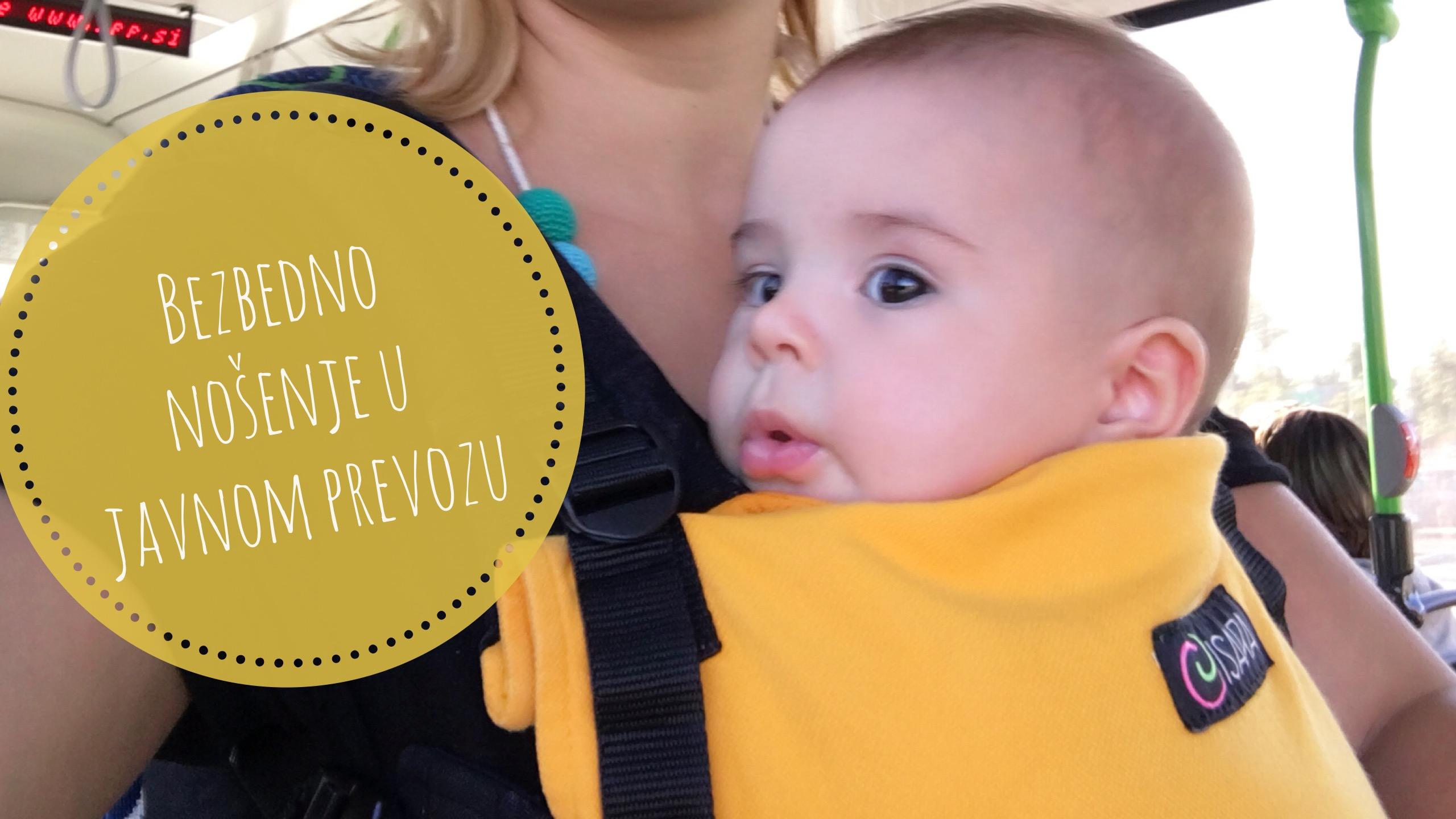 Nosenje beba u javnom prevozu nosiljke u autobusu