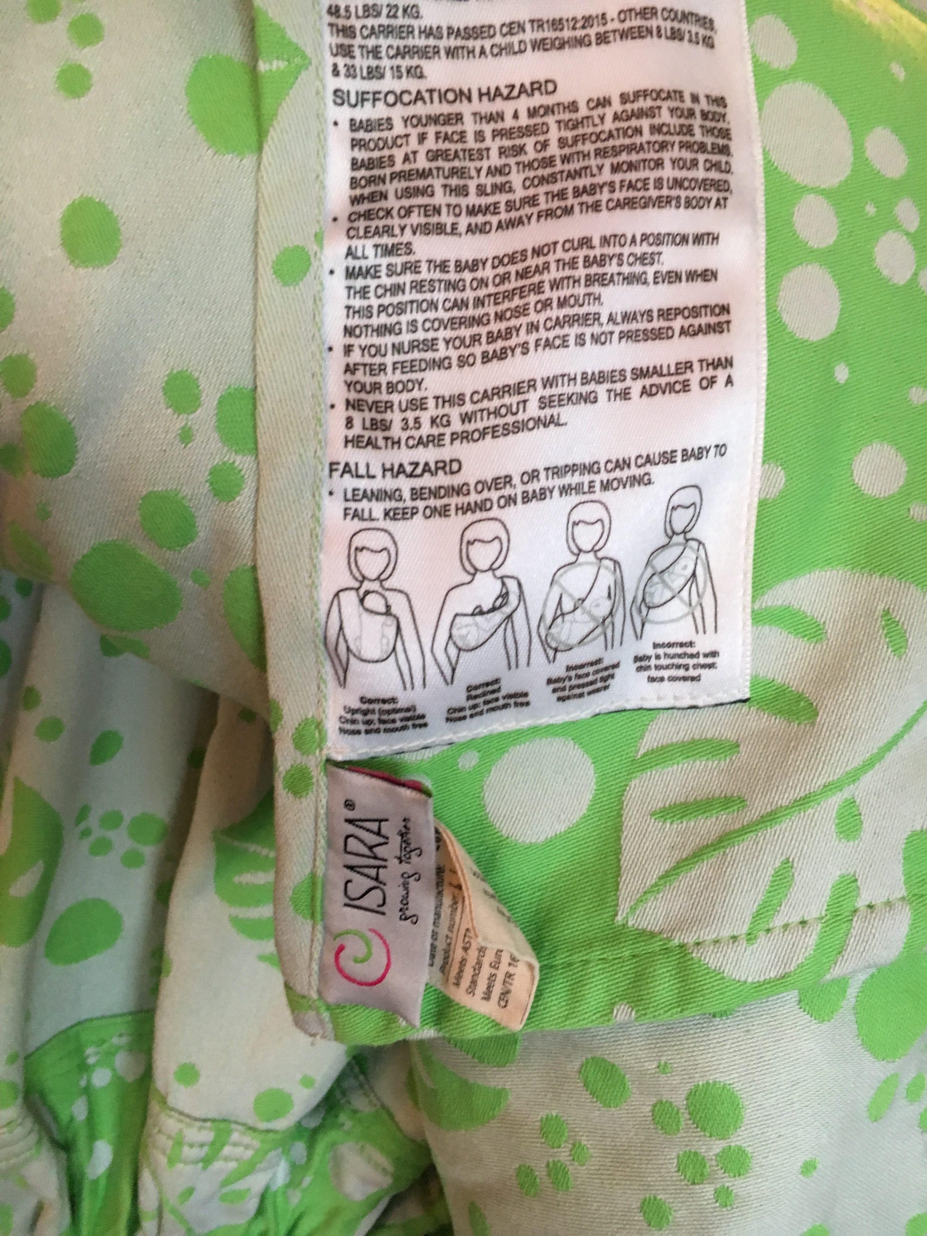 isara woven wrap warning